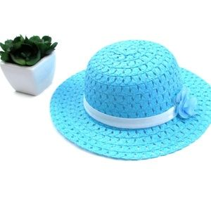 Aqua Blue Ribbon and Flower Fashion Straw Sun Hat